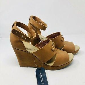 Nautica Jaelyn Open Toe Platform Wedge Sandals S5